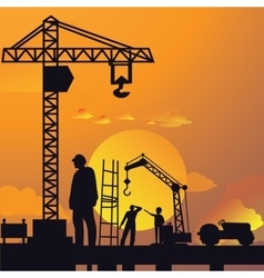 Silhouette man working on construction site vector