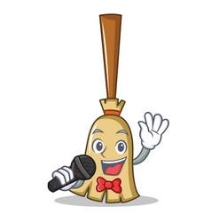 singing broom character cartoon style vector image