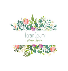 Square decoration with flowers leaves and herbs vector