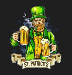 st patricks day smoking beard man holding two la vector image