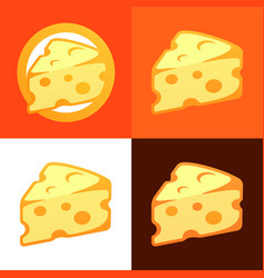 style cheese icon vector image vector image