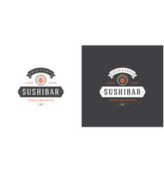 Sushi logo and badge japanese food restaurant with vector