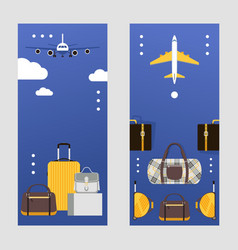 travel bags on vertical banners suitcases vector image