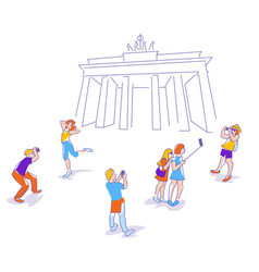 Travelers in berlin vector