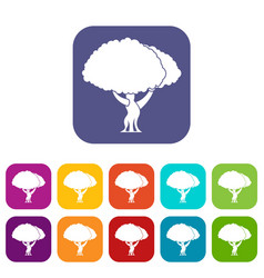 tree icons set vector image