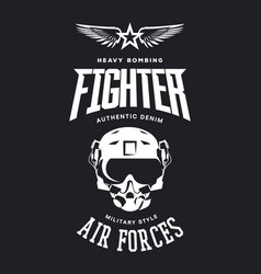 Vintage fighter pilot helmet logo vector
