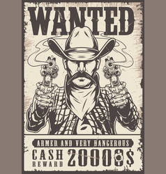 Vintage western wanted monochrome poster vector