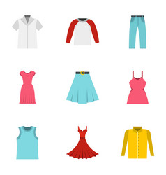Wardrobe icons set flat style vector