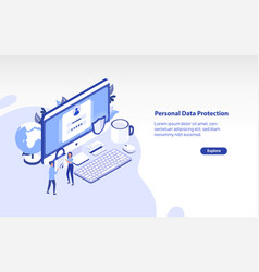 web banner template with giant computer pair vector image