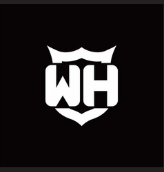 wh logo monogram with shield around crown shape vector image