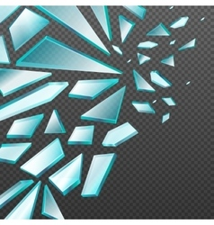 Window with transparent broken glass shards vector