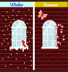 windows on red brick wall building winter and vector image