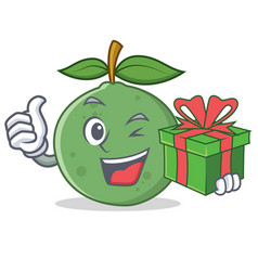 With gift guava mascot cartoon style vector
