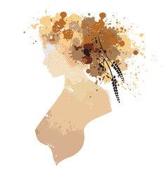 Woman portrait in profile with stains vector