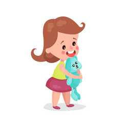 adorable little girl standing and hugging her vector image