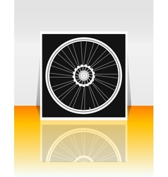 Bicycle wheel on flyer or cover vector image