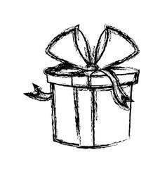 christmas gift box wrapped ribbon bow vector image vector image