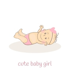 Cute little baby girl Newborn baby icon Smiling vector image vector image