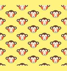 monkey seamless on yellow background vector image