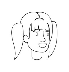 monochrome silhouette of woman face with pigtails vector image vector image