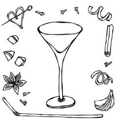 Margarita coctail glass hand drawn vector