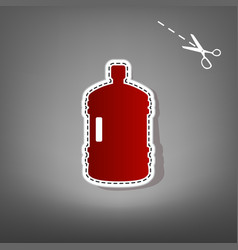 plastic bottle silhouette sign red icon vector image vector image