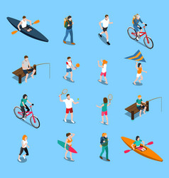 summer outdoor activity people icon set vector image