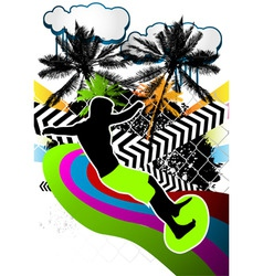 surfing summer background vector image vector image