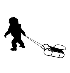 child pulling sledge vector image vector image