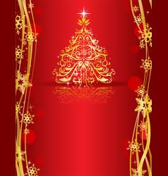 ornate golden christmas tree vector image