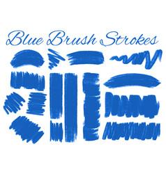 Set of blue brush strokes vector