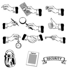 Big set of icons of mens hands making vector