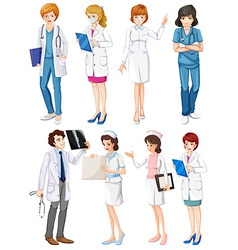 Doctors and nurses vector image vector image
