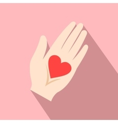 Heart in a hand flat icon vector image vector image