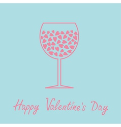 Wine glass with hearts inside Love card in flat vector image vector image