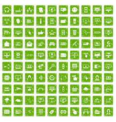 100 internet icons set grunge green vector image