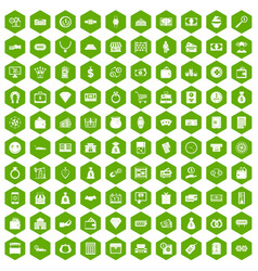 100 money icons hexagon green vector