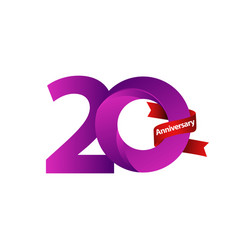 20 years anniversary celebration purple ribbon vector