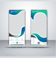 Abstract cyan roll up banner business design vector