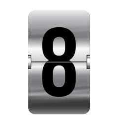 Alphabet silver flipboard letters 8 vector image