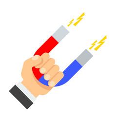 Attraction magnet in hand vector