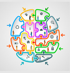 Brain of puzzles with workers vector
