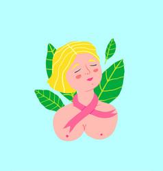 Breast cancer awareness day logo design woman vector