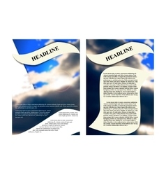 brochure template with a background cloudy sky vector image