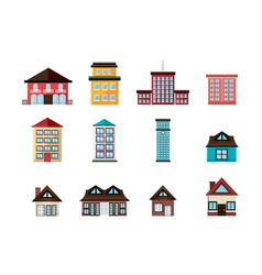 Bundle structures facade isometric icons vector