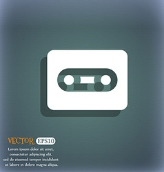 Cassette icon symbol on the blue-green abstract vector image
