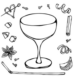 champagne saucer coctail glass hand drawn vector image