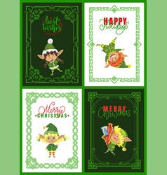 christmas greeting cards elves or santa helpers vector image