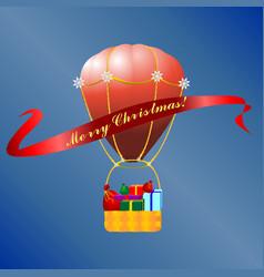 Christmas hot air baloon vector