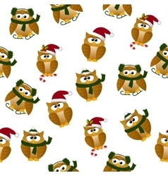 Christmas owl in santa hat vector